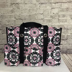 Thirty One Utility Tote Pink Pop Medallion Print
